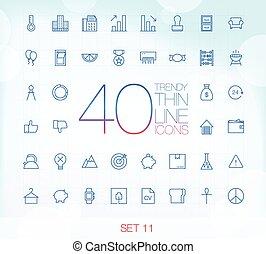 40 Trendy Thin Icons Set 11