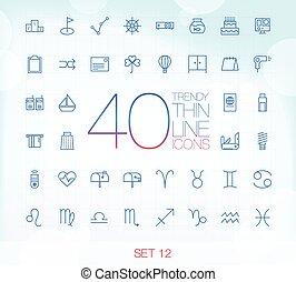 40 Trendy Thin Icons Set 12