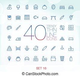 40 Trendy Thin Icons Set 16