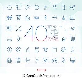 40 Trendy Thin Icons Set 8