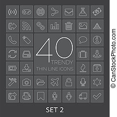 40 Trendy Thin Line Icons for Web and Mobile. Set 2