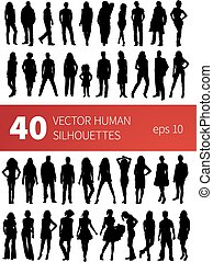 vector silhouettes of people in various poses isolated on white