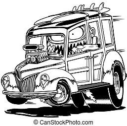 '40 Woody Cartoon - Black Line Illustration