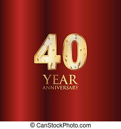 40 Year Anniversary Gold With Red Background Vector Template Design Illustration