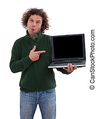 40 year old man displaying a laptop. Isolated on white