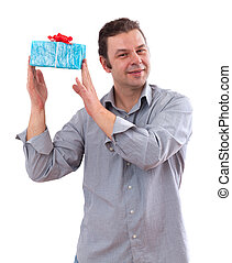 40 year old man holding a board, isolated on white background