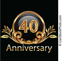40 years anniversary birthday in gold