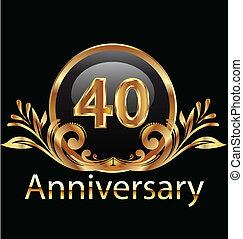 40 years anniversary birthday in gold