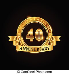 40 years anniversary celebration logotype. Golden anniversary emblem with ribbon. Design for booklet, leaflet, magazine, brochure, poster, web, invitation or greeting card.