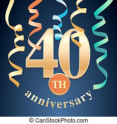 40 years anniversary celebration vector icon, logo. Template design element with golden number and spiral garlands for 40th anniversary greeting card