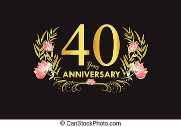 40 Years anniversary gold watercolor wreath vector