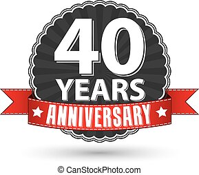 40 years anniversary retro label with red ribbon, vector illustration