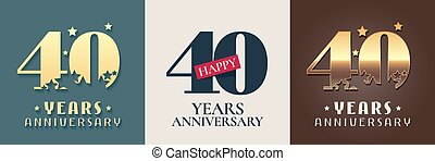 40 years anniversary set of vector icon, symbol, logo