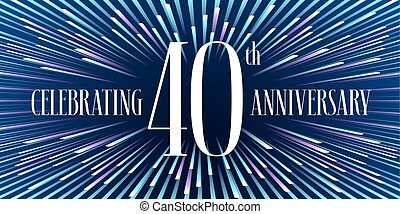 40 years anniversary vector icon, banner. Graphic design element or logo with abstract background for 40th anniversary