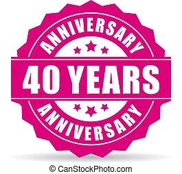 40 years anniversary vector icon