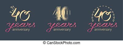 40 years anniversary vector icon, logo set