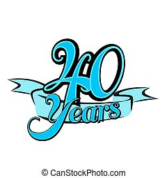 40 Years Badge Cover Title Design, Vector Outline Artwork