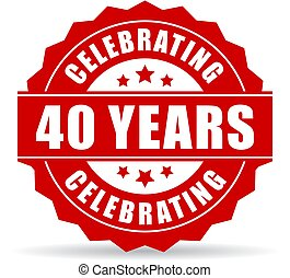 40 years celebrating vector icon