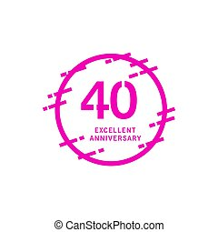 40 Years Excellent Anniversary Vector Template Design illustration