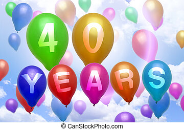 40 years happy birthday balloon colorful balloons party