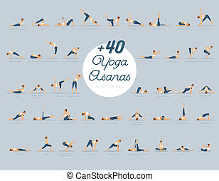 +40, yoga, noms, asanas
