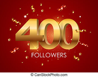 400 Followers Background Template Illustration