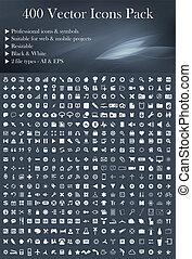 400, vector, (white), paquete, iconos