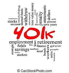 401 k, 낱말, 구름, 개념, 에서, 빨강, &, 검정
