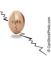401 K egg - golden cracked egg for retirement.