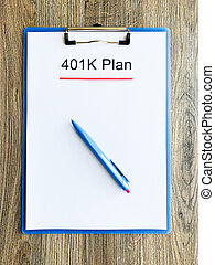 401k, テーブル, 木, ペーパー, 計画