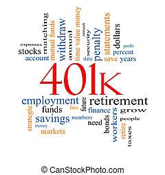 401k, concept, mot, nuage
