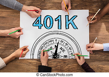 401k, dessin, gens, plan, pension