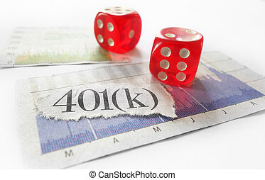 401k dice - 401K newspaper headline with red dice and stock...