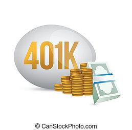 401k, dinero, huevo, efectivo, ilustración
