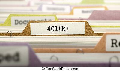 401k, dossiers, concept., catalogue