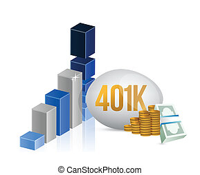 401k egg and cash money graph illustration design over a...