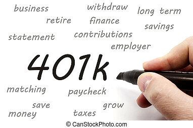 401k, existens, handskrivet