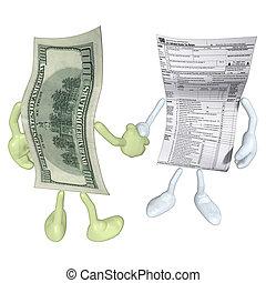 401k, forma, dinero, apretón de manos