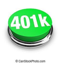 401k, -, grön, knapp