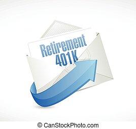401k, mensaje, retiro, email