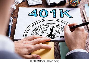 401k, pension, plan, homme, écriture