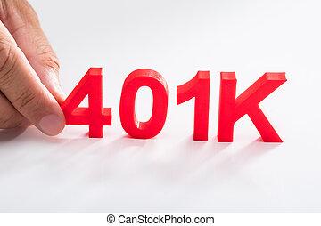 401k, personne affaires, pension, tenue, plan