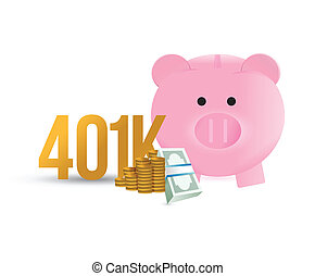 401k, piggybank, diseño, ilustración