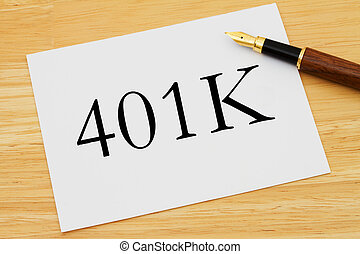 401K Planning, A white card with text of 401K and a fountain...