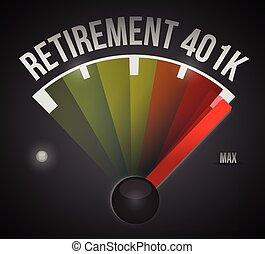 401k, retiro, velocímetro, ilustración