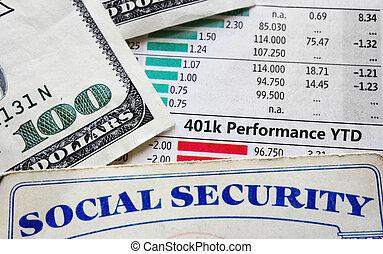 401k, sécurité, diagrammes, social