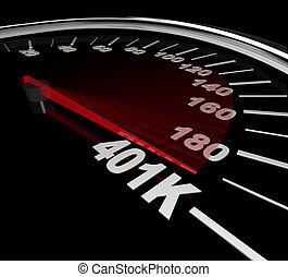 401k, snelheidsmeter, -, getal
