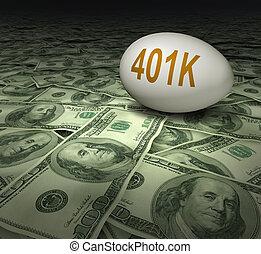 401k, tillbakadragande besparingar, investering