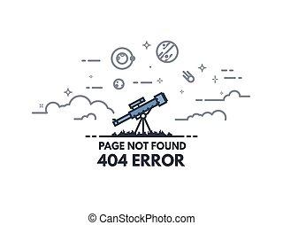 404, bandeira, telescópio, procurar