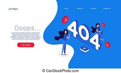404, conception, erreur, ordinateur portable, concept., page, error., écran